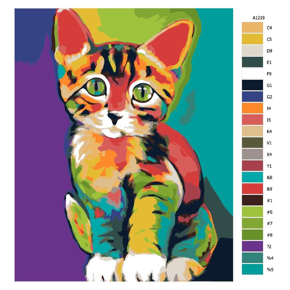 Návod pro malování podle čísel Barevné koťátko