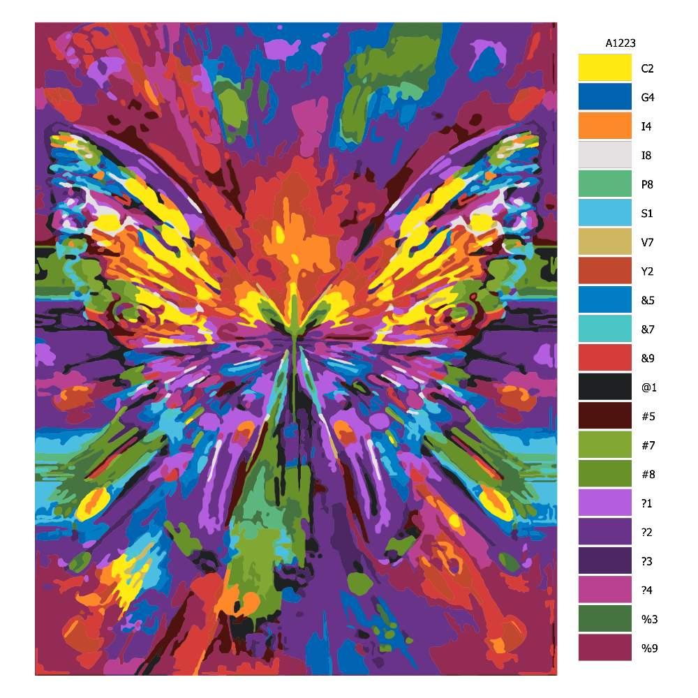 Návod pro malování podle čísel Barevný obtisk motýla