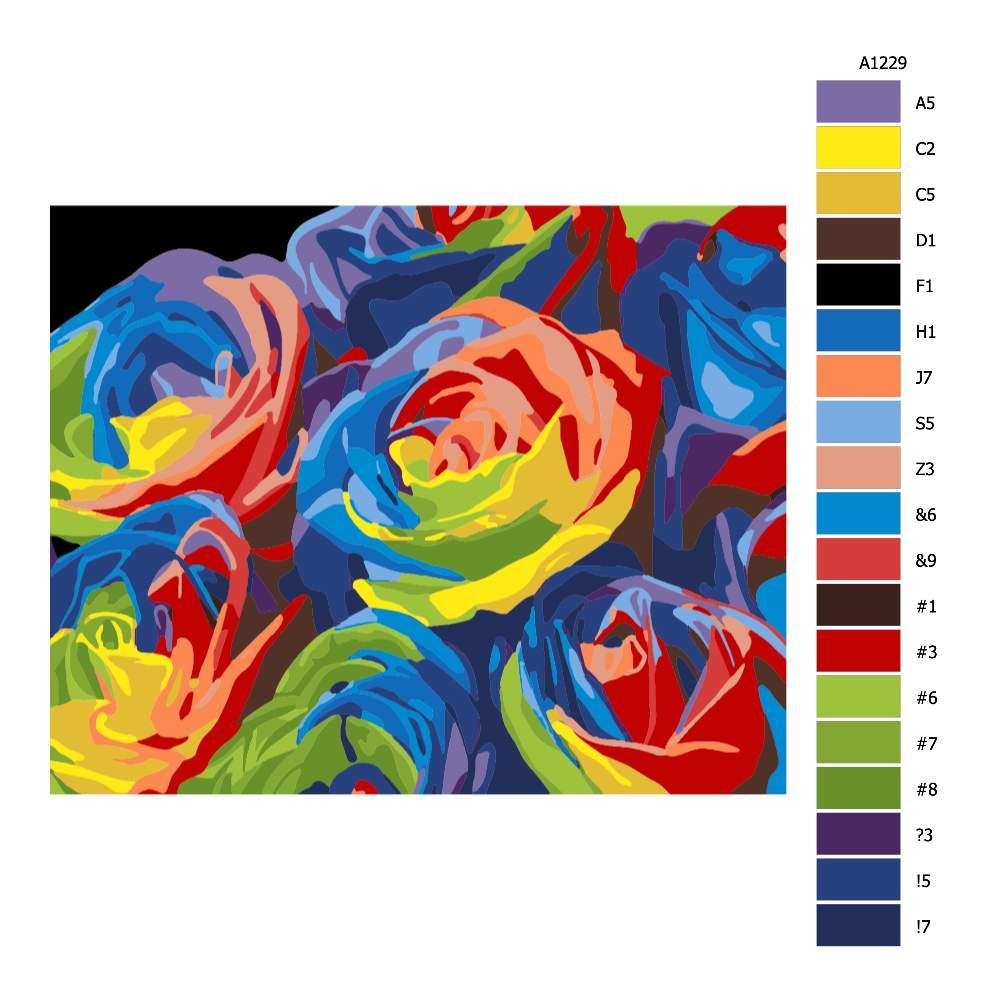 Návod pro malování podle čísel Květy v barvách