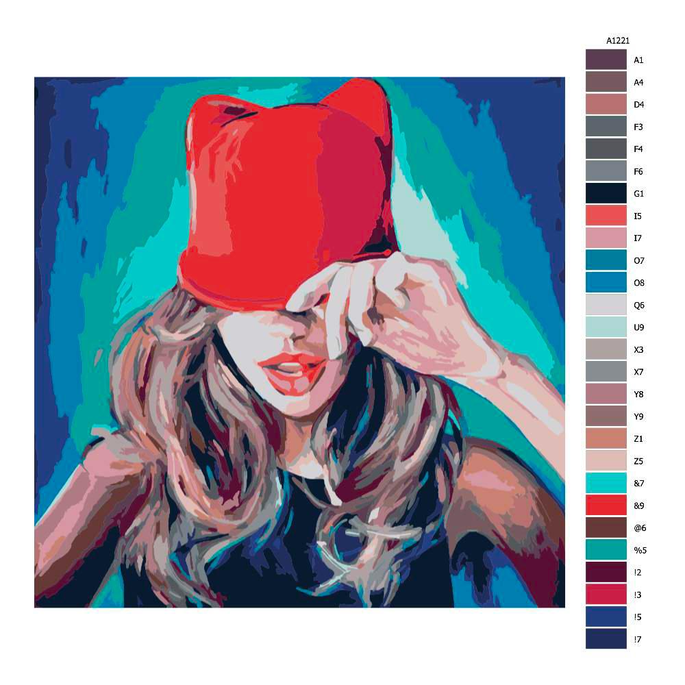Návod pro malování podle čísel Dívka s čepicí