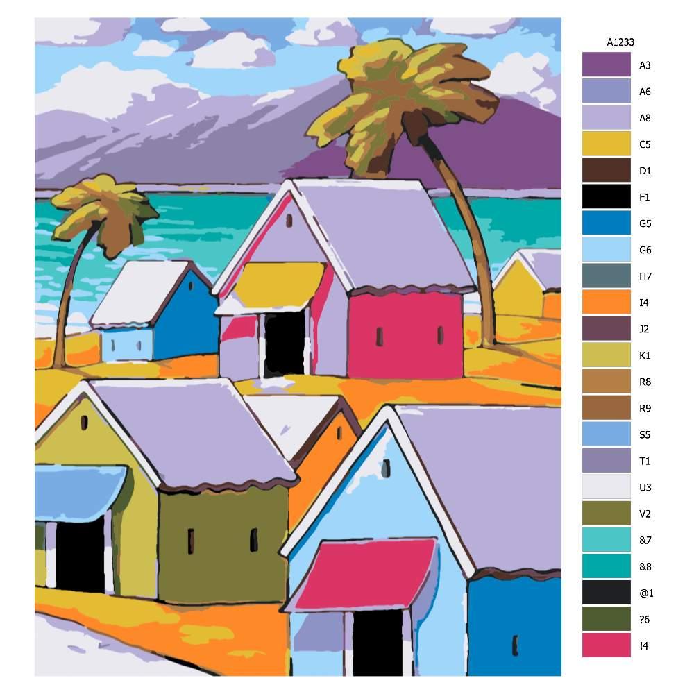 Návod pro malování podle čísel Barevné domy