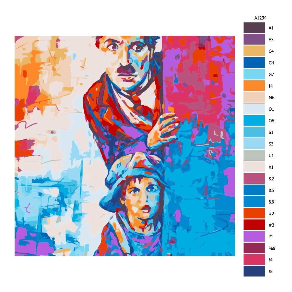 Návod pro malování podle čísel Charley Chaplin v barvách