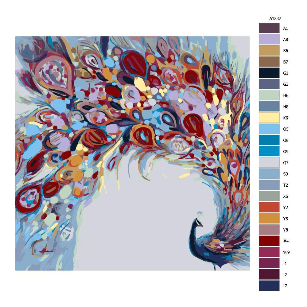 Návod pro malování podle čísel Barevný páv