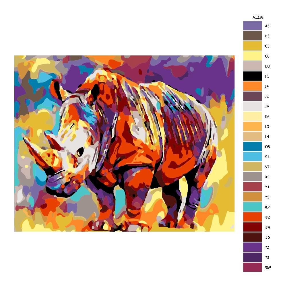 Malování podle čísel Nosorožec v barvách