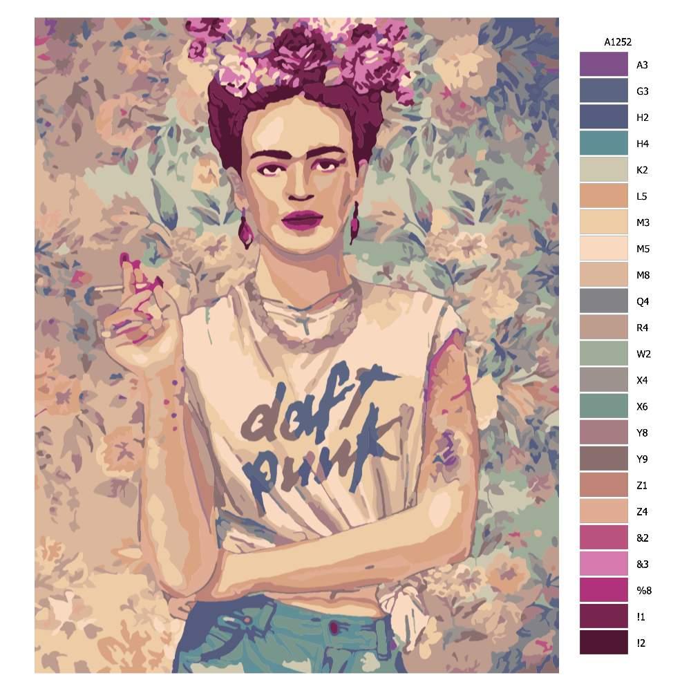 Návod pro malování podle čísel Frída s cigaretou