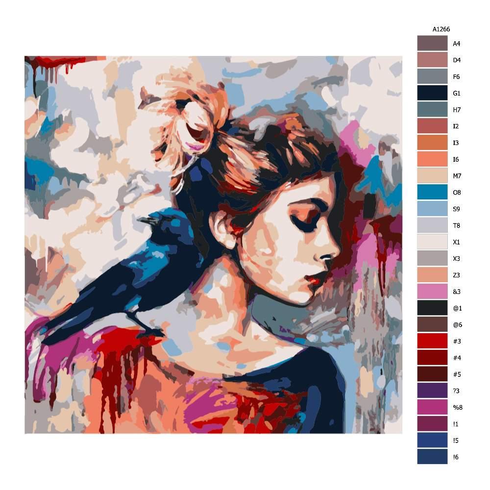 Návod pro malování podle čísel Vrána na rameni