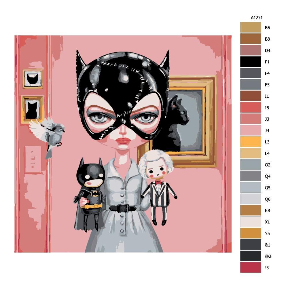 Návod pro malování podle čísel Kočičí žena