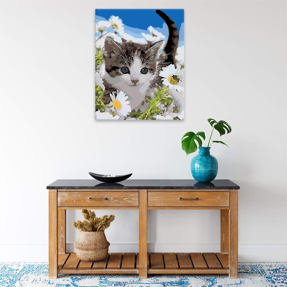 Malování podle čísel Roztomilá kočička v kvítí