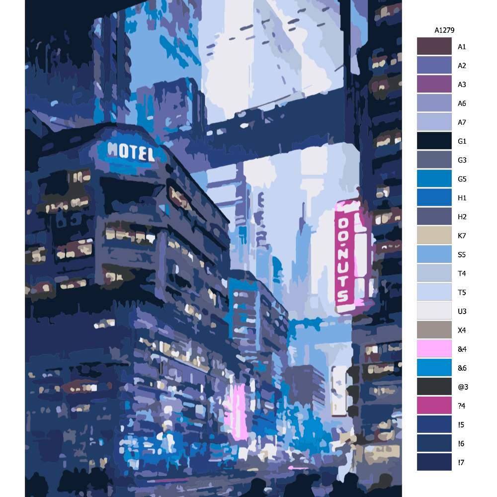 Návod pro malování podle čísel Město budoucnosti