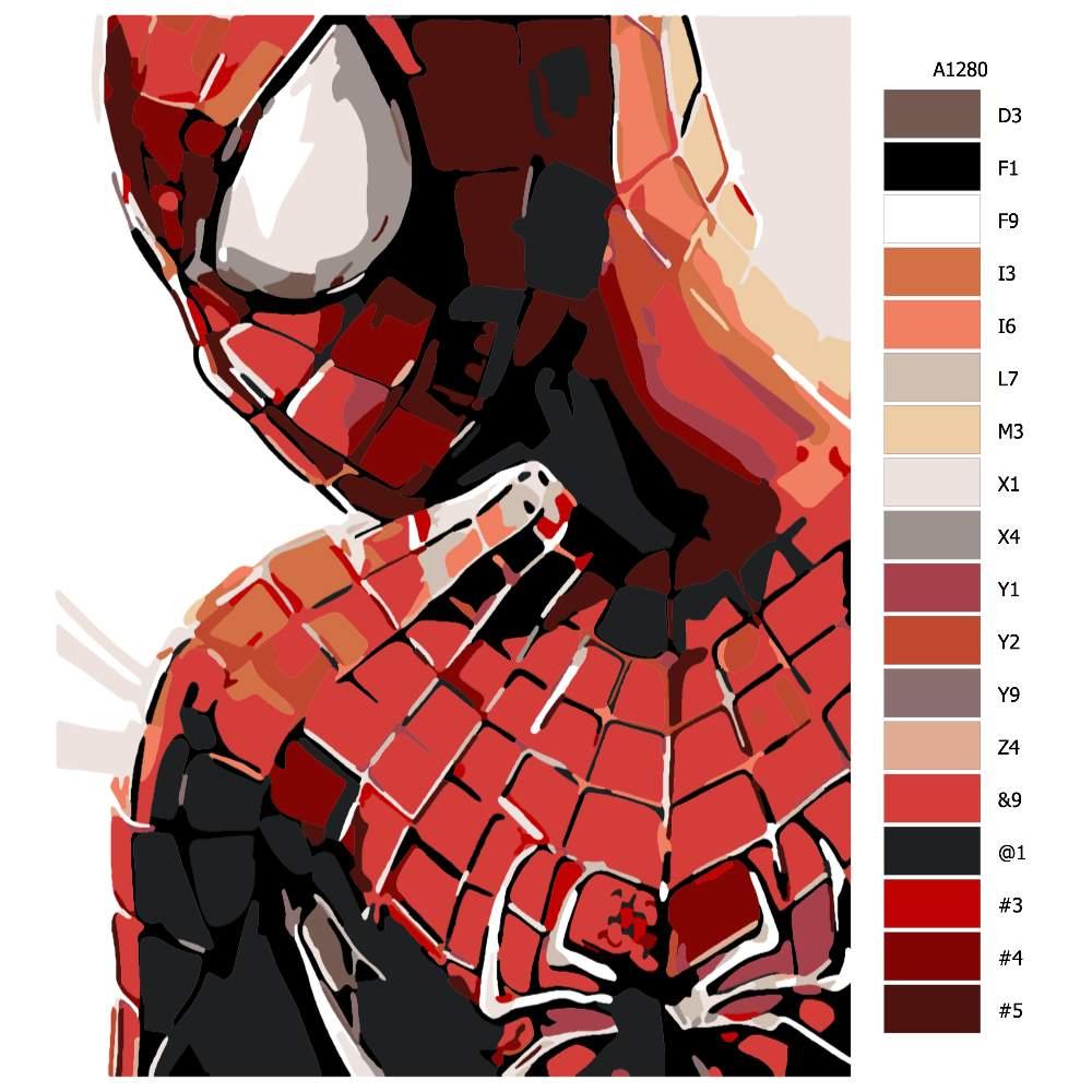 Návod pro malování podle čísel Spider man
