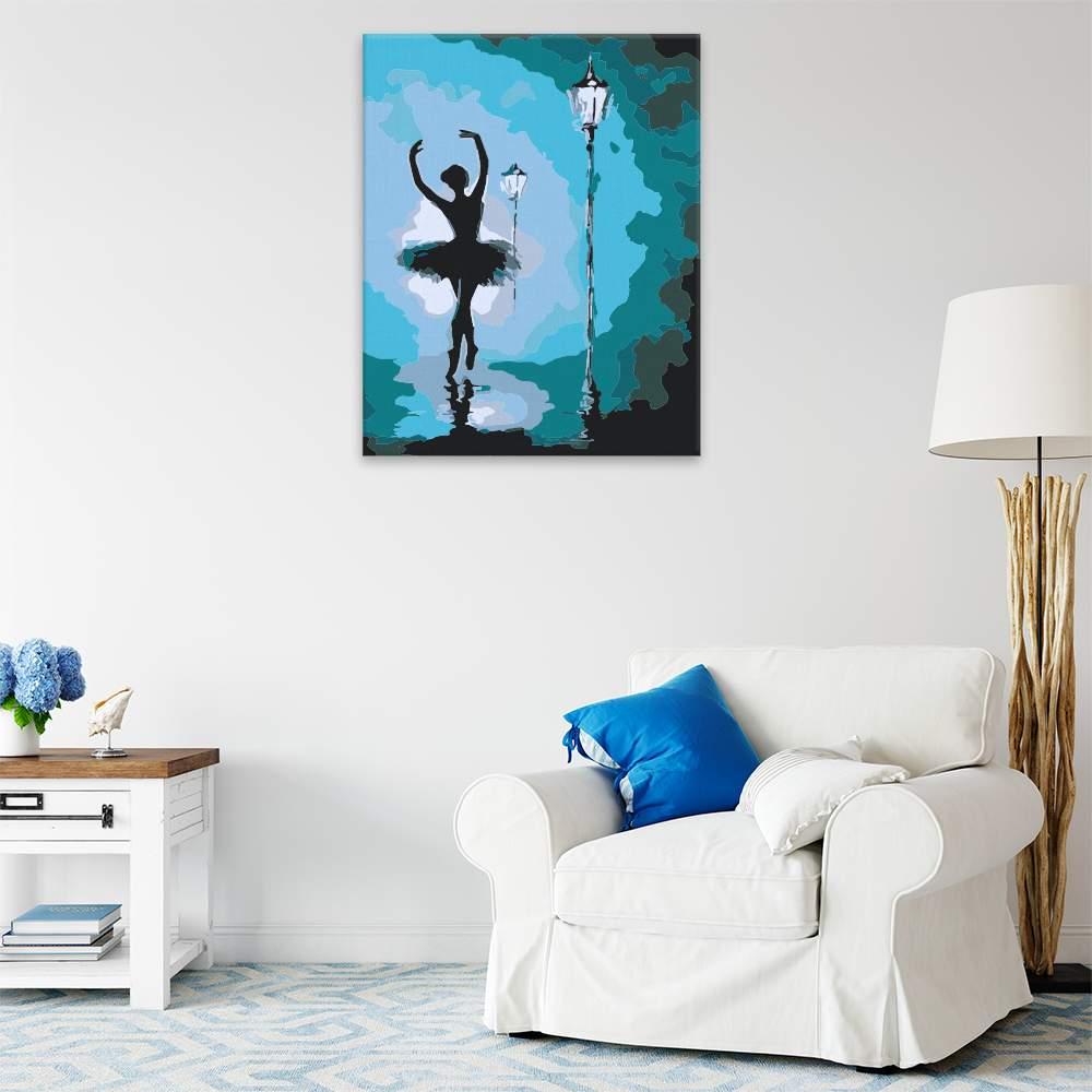 Malování podle čísel Baletka pod lampou