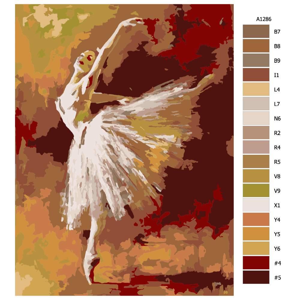 Návod pro malování podle čísel Baletka
