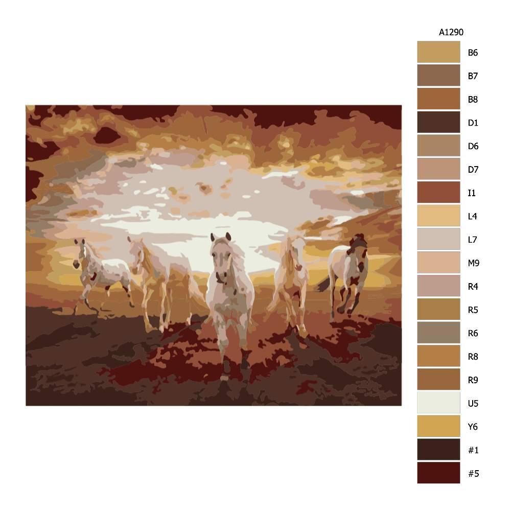 Návod pro malování podle čísel Koně při západu