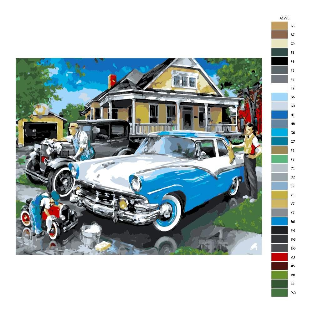 Návod pro malování podle čísel Mytí auta