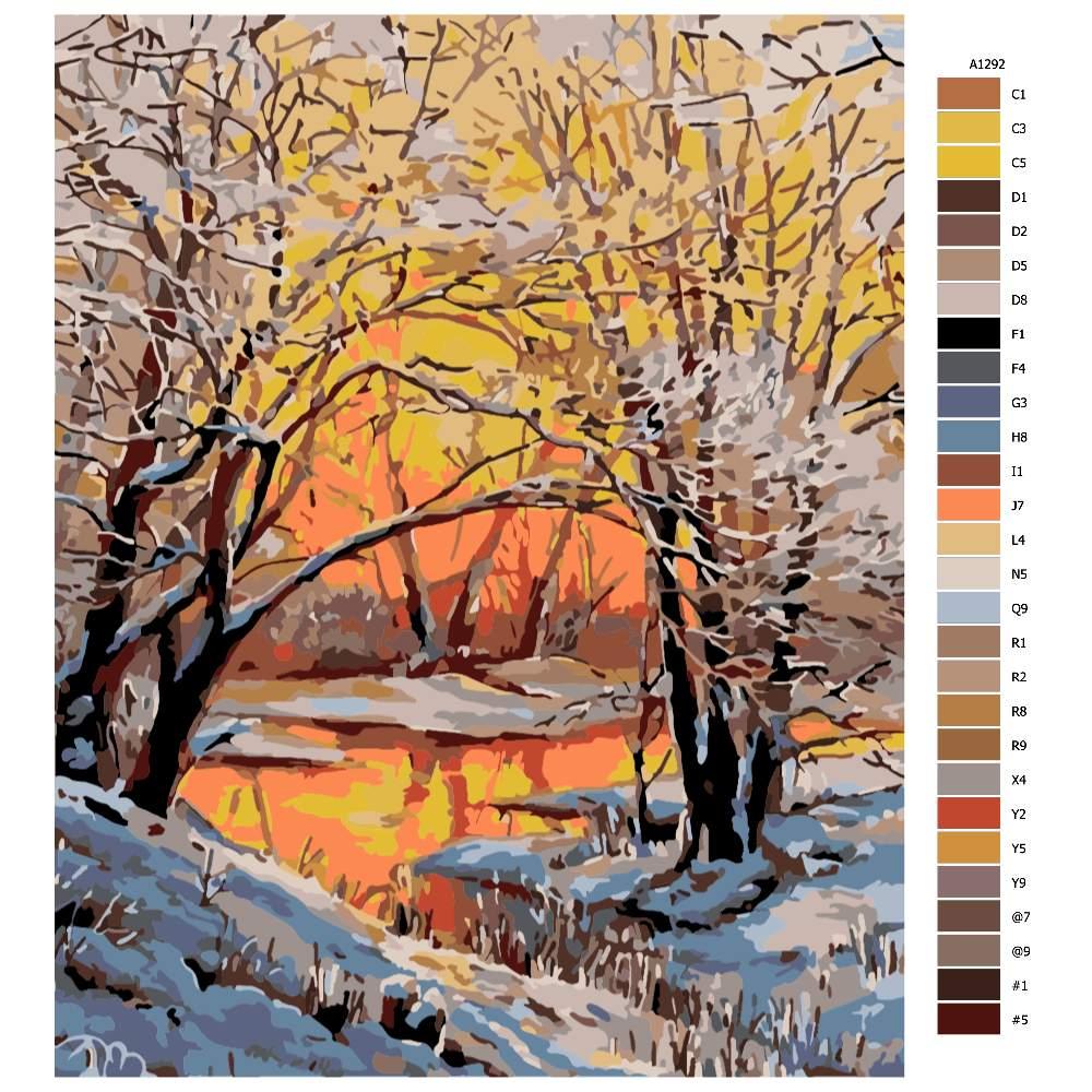 Návod pro malování podle čísel Zimní rozbřesk