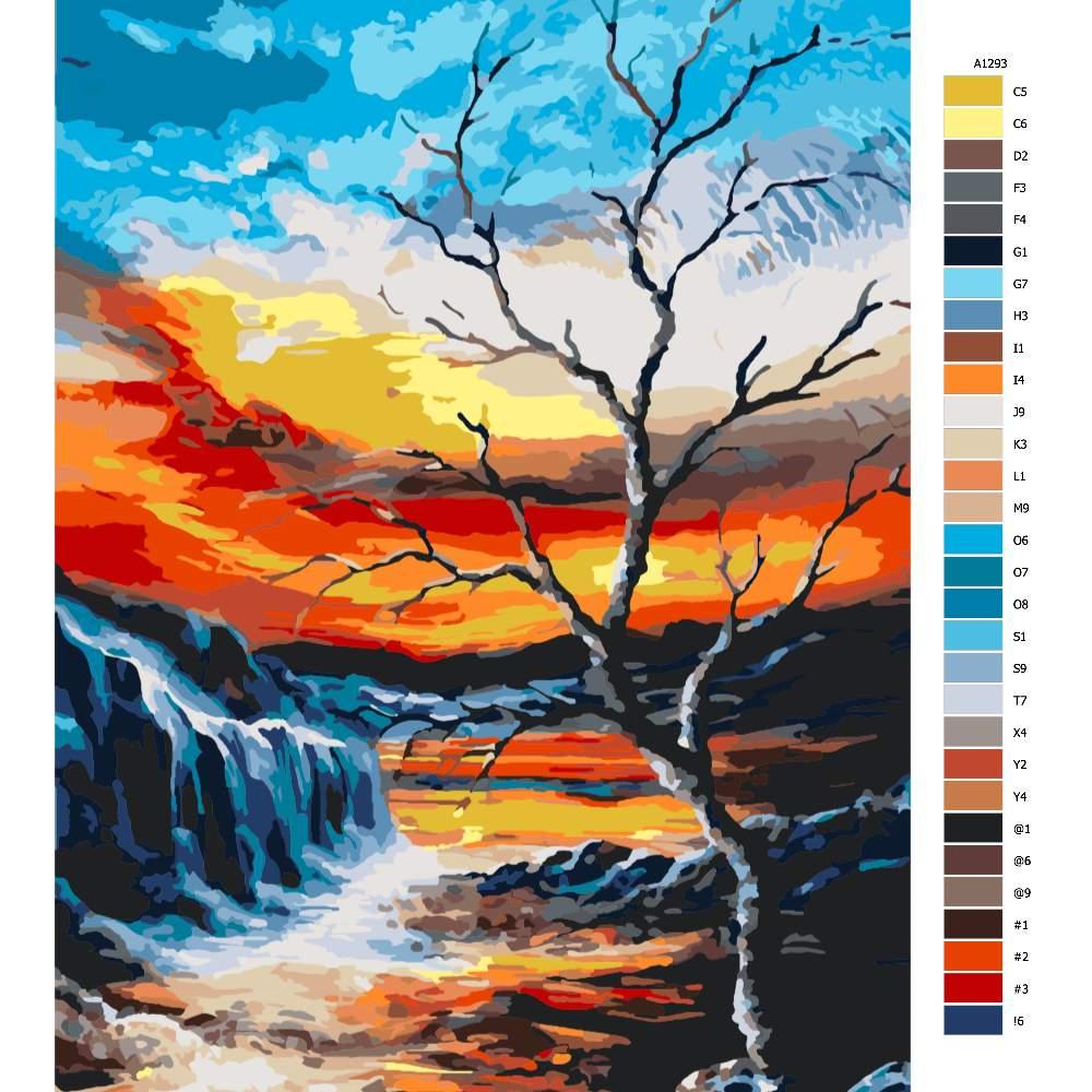 Návod pro malování podle čísel Suchý strom nad soumrakem
