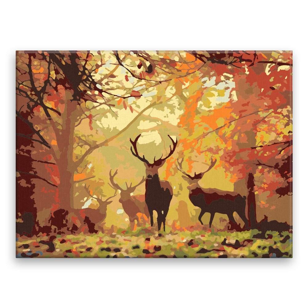 Malování podle čísel Podzim s jeleny