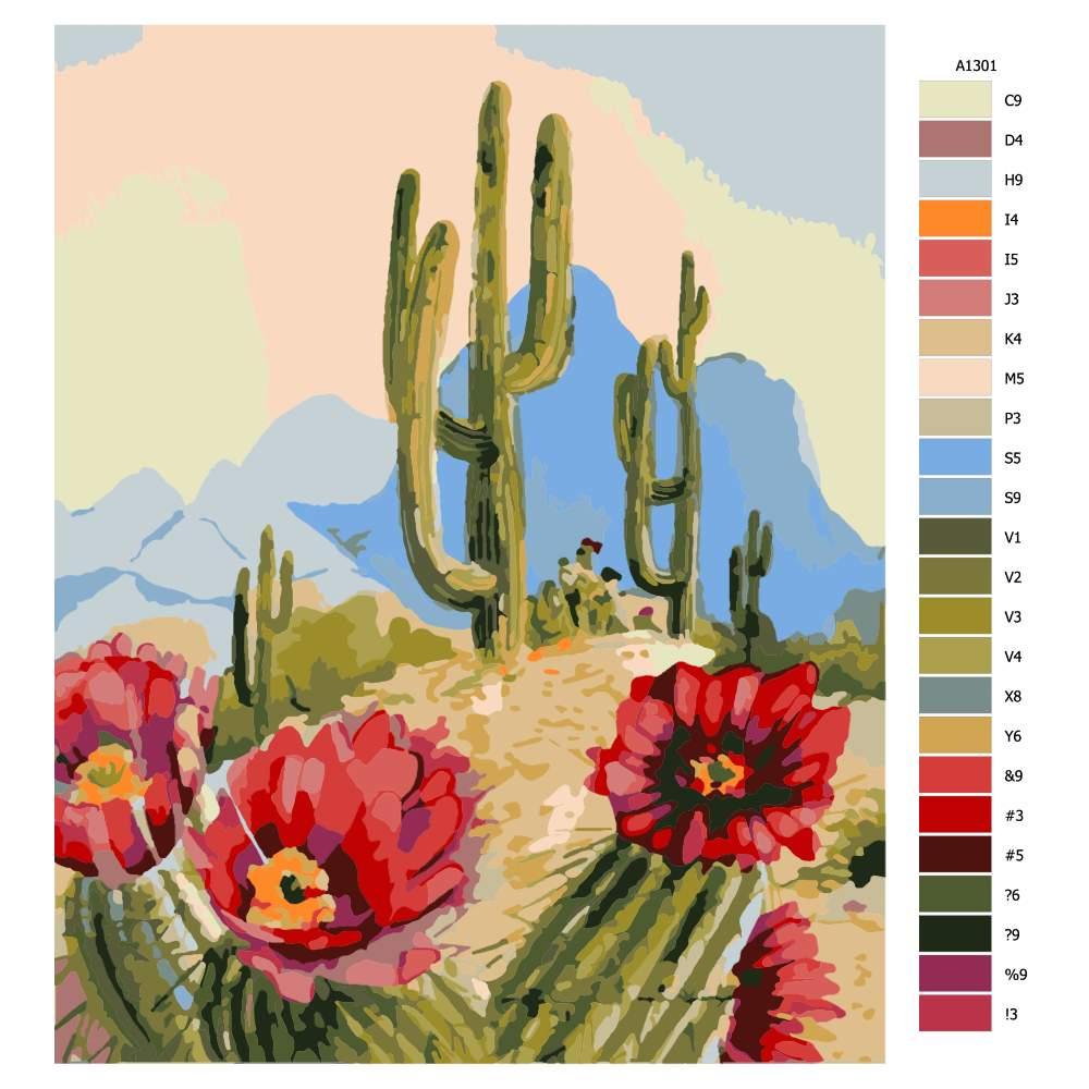 Návod pro malování podle čísel Mexický kaktus