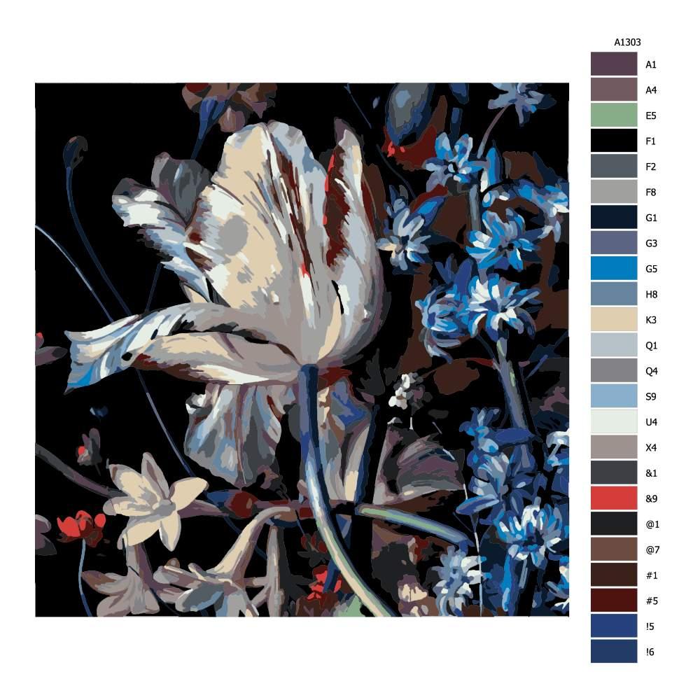 Návod pro malování podle čísel Orosený tulipan