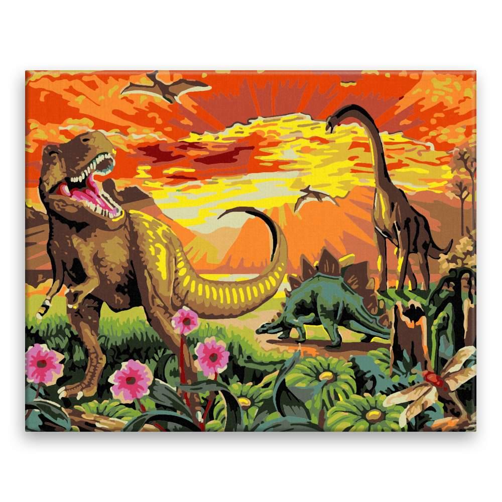 Malování podle čísel Dinosuři při západu slunce