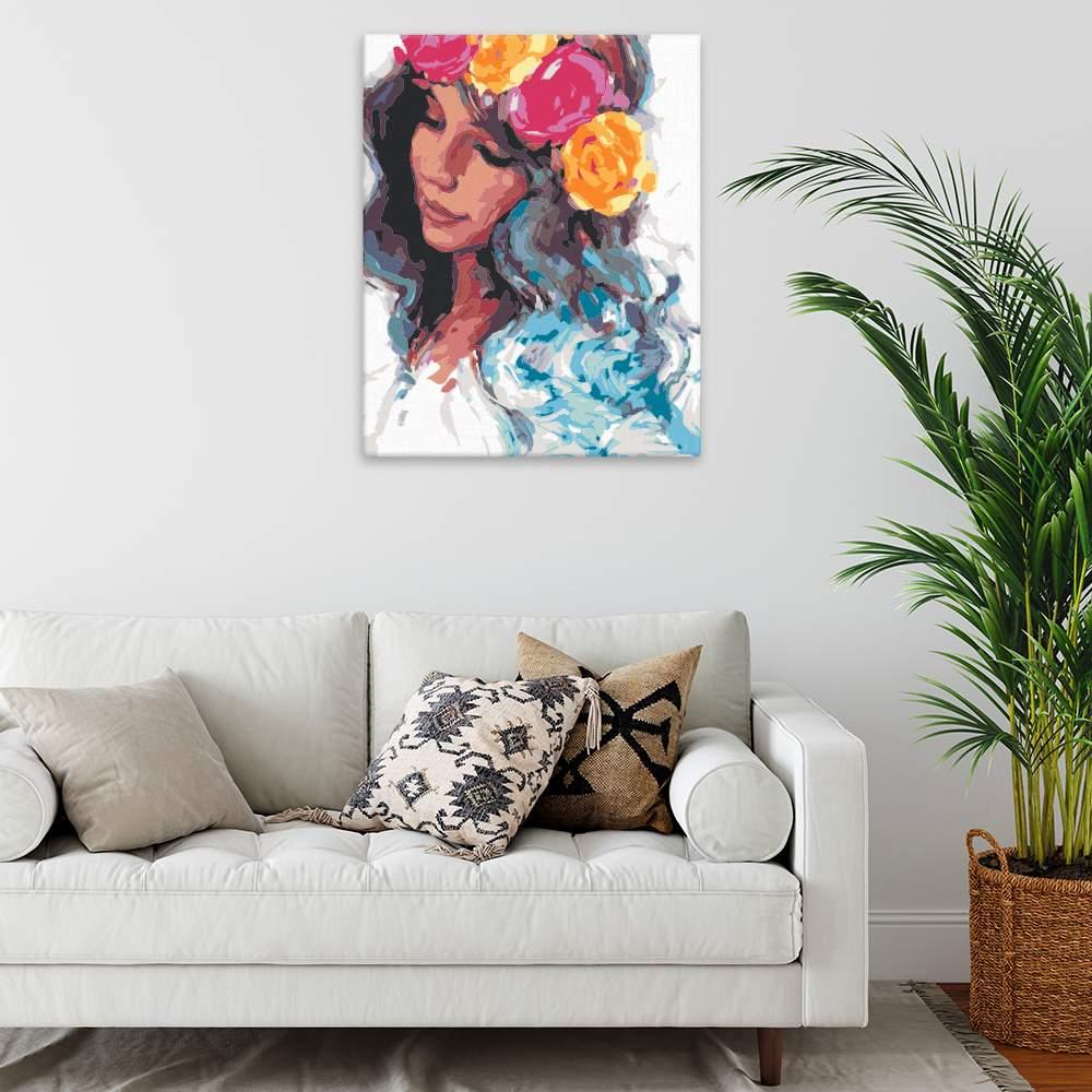 Malování podle čísel Dívka s květinovou čelenkou