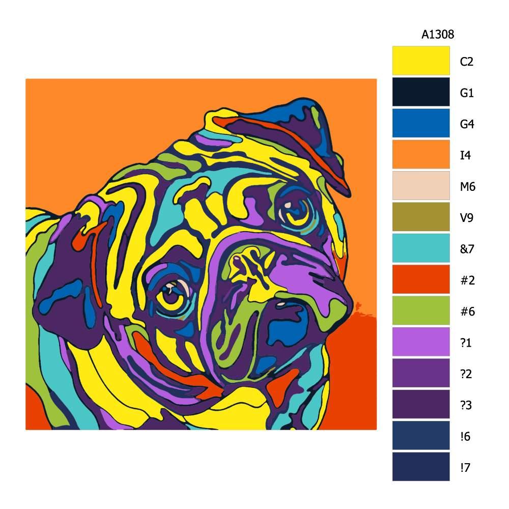 Návod pro malování podle čísel Mops v barvách