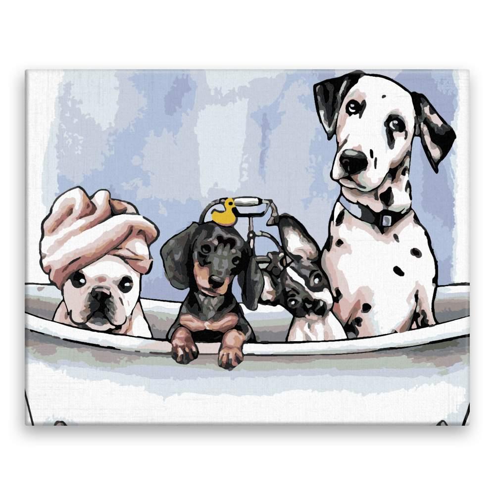 Malování podle čísel Psi ve vaně