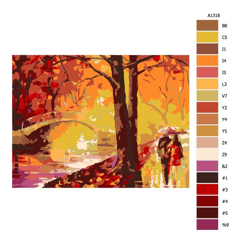 Návod pro malování podle čísel Podzimní snění