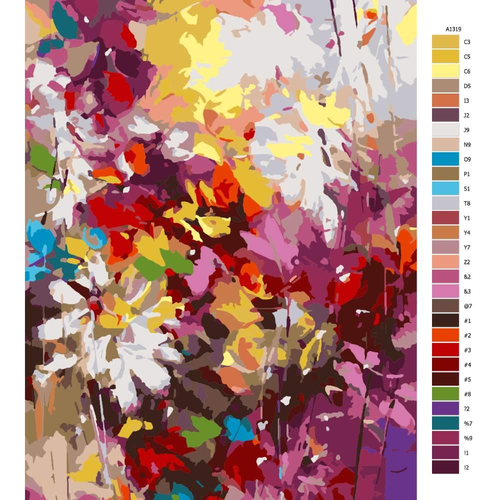 Návod pro malování podle čísel Květy snů