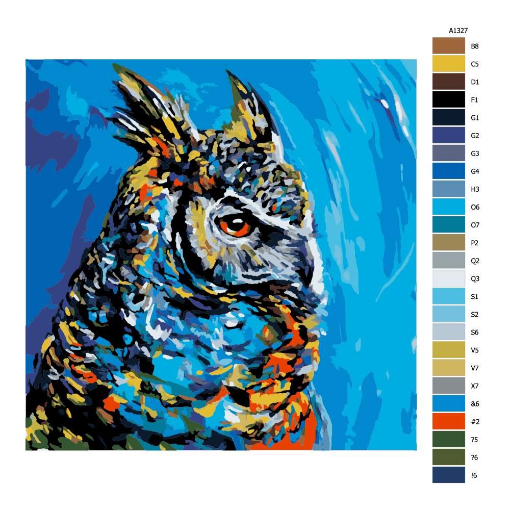 Návod pro malování podle čísel Výr velký v barvách
