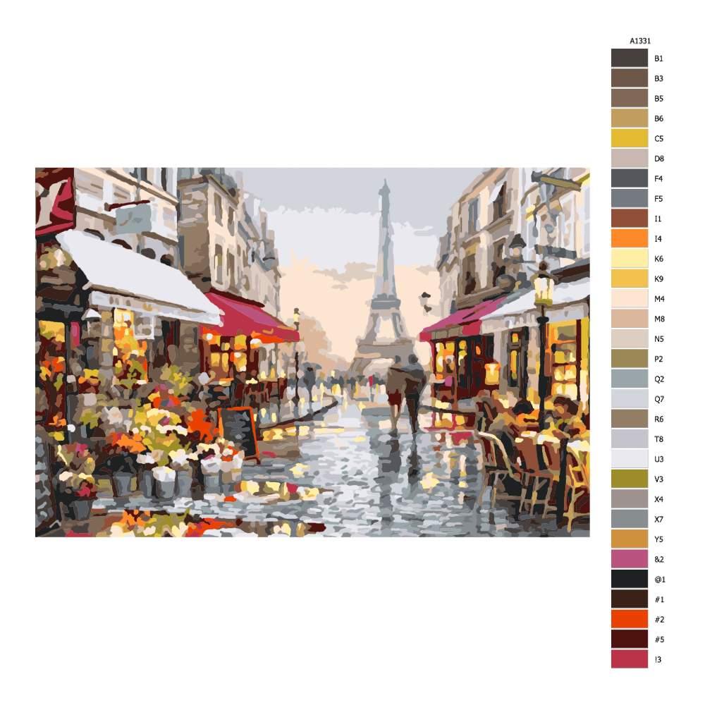 Návod pro malování podle čísel Procházka pařížskou