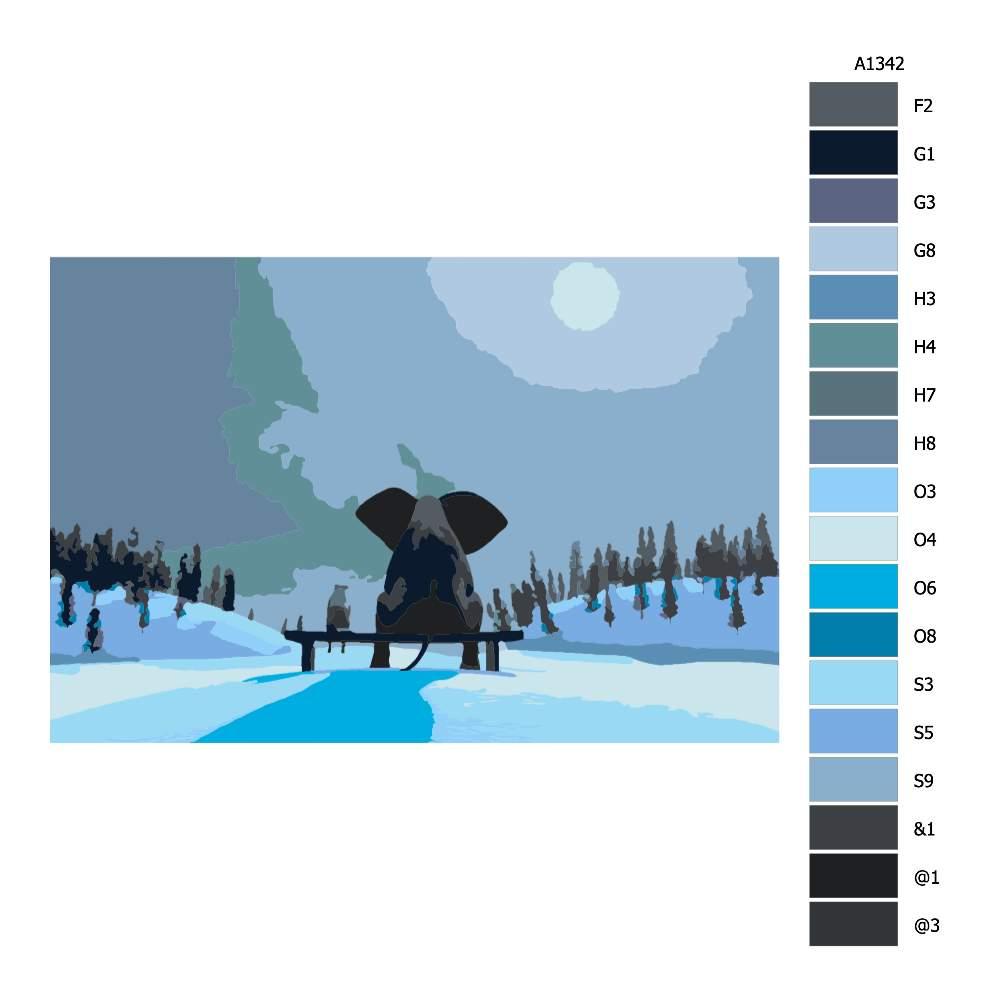 Návod pro malování podle čísel Slon a pes při úplňku