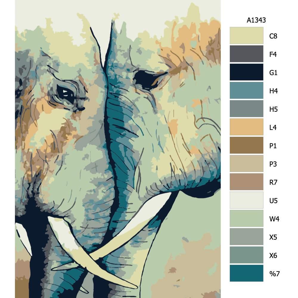 Návod pro malování podle čísel Sloní láska