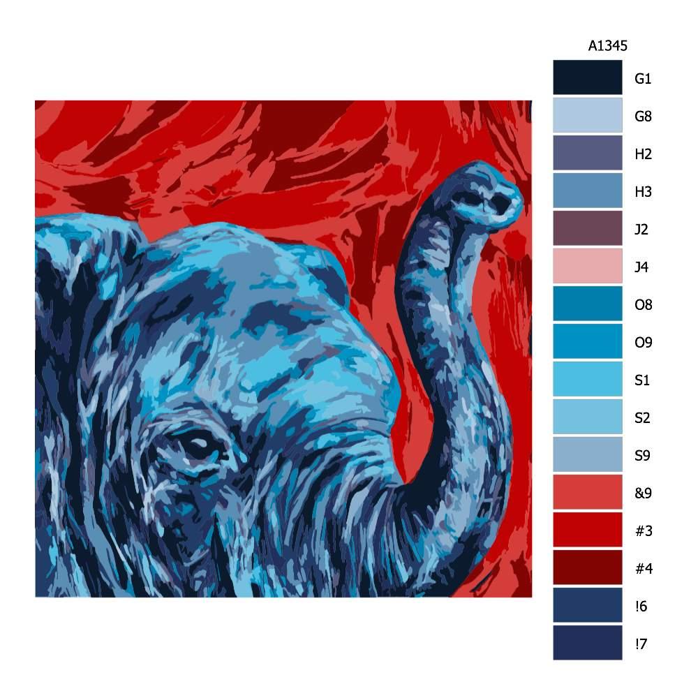 Návod pro malování podle čísel Modrá hlava slona