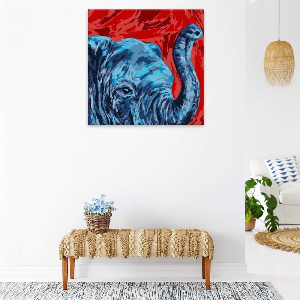 Malování podle čísel Modrá hlava slona