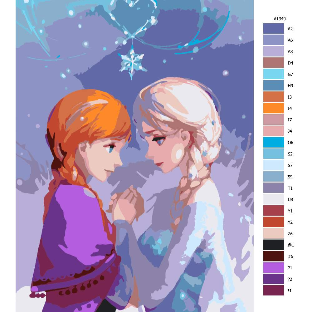 Návod pro malování podle čísel Elsa a Anna