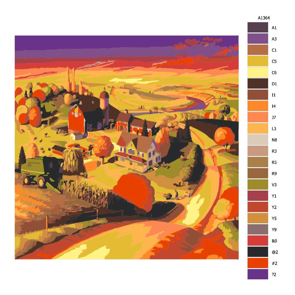 Návod pro malování podle čísel Podzim na farmě