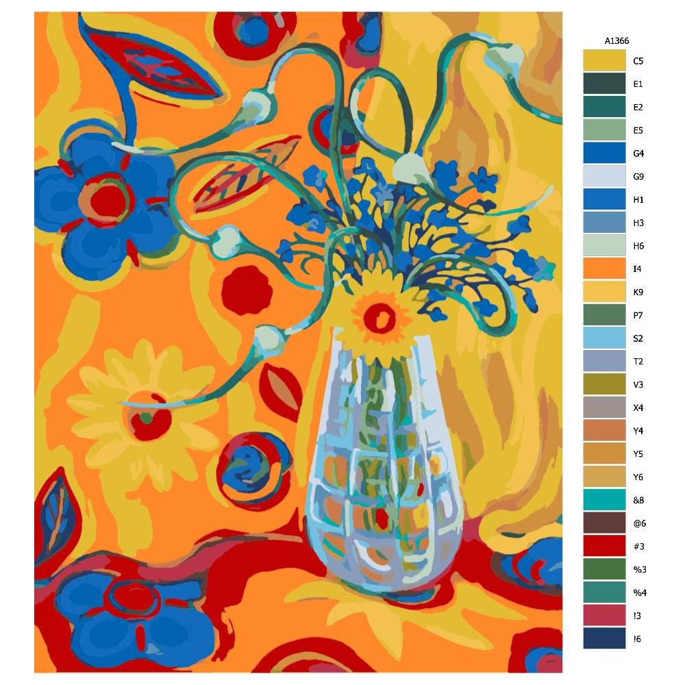 Návod pro malování podle čísel Květinová fantazie