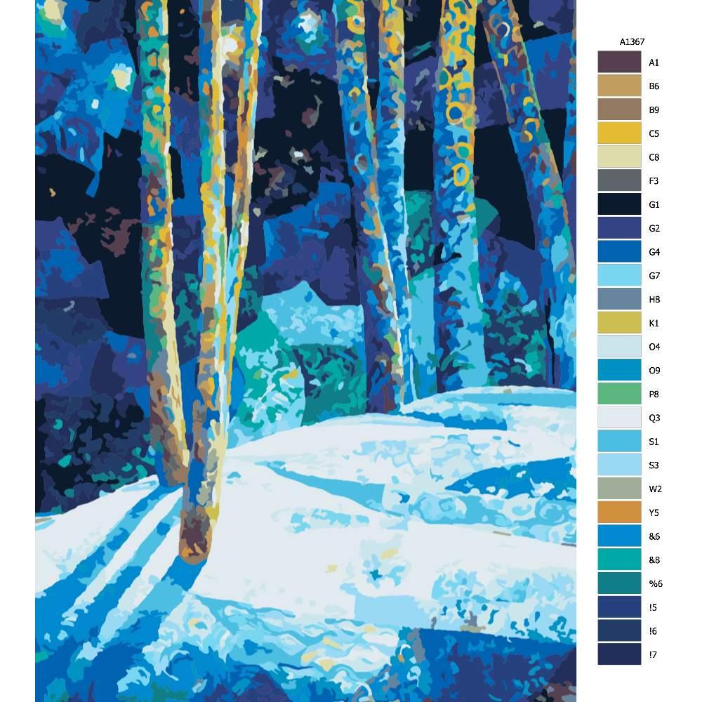 Návod pro malování podle čísel Kouzelný les
