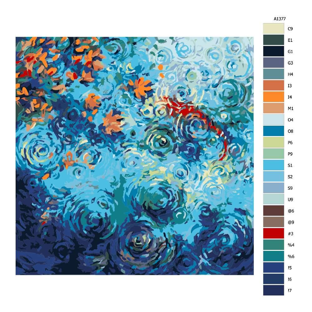 Návod pro malování podle čísel Rybí jezírko v dešti