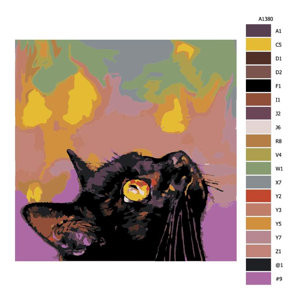 Návod pro malování podle čísel Kočičí pohled vzhůru