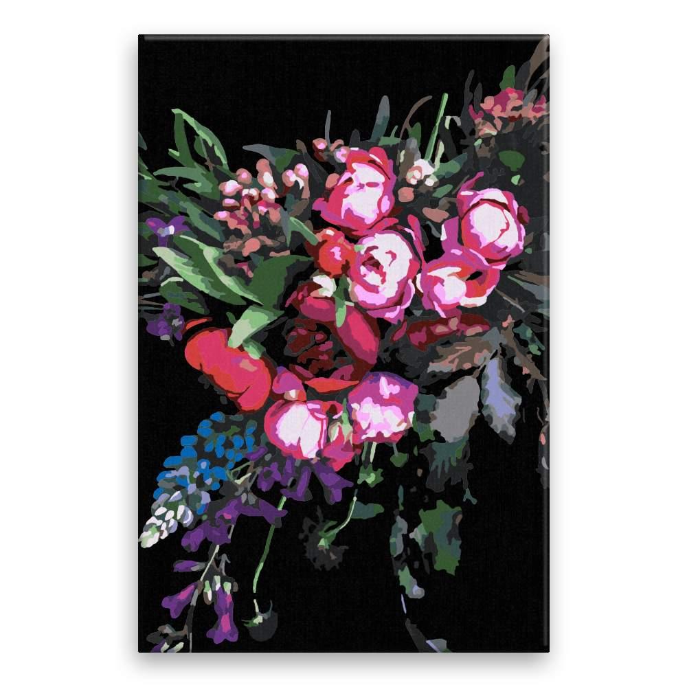 Malování podle čísel Tmavé květy