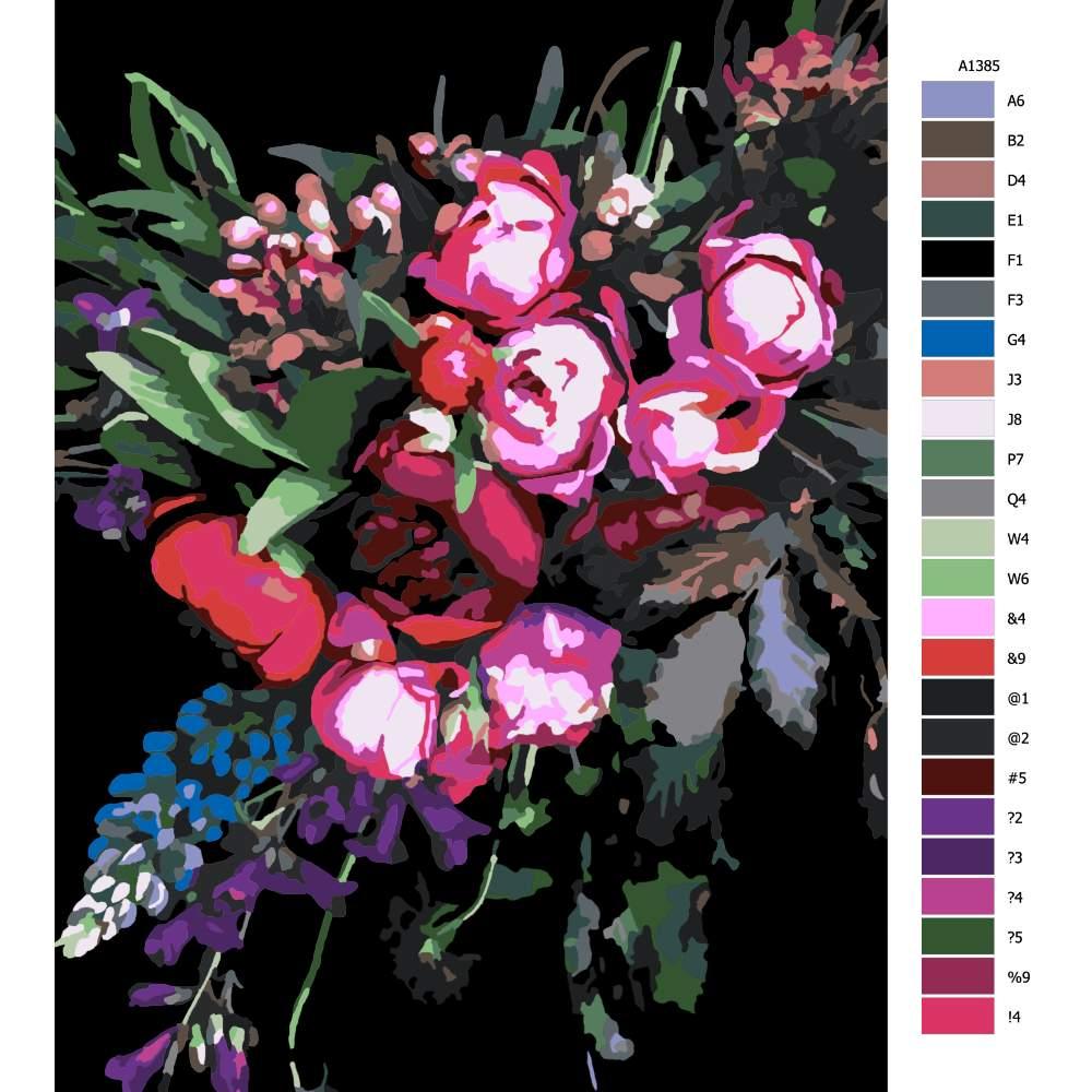 Návod pro malování podle čísel Tmavé květy