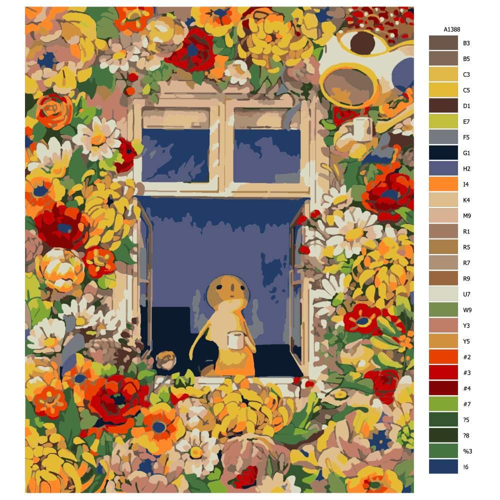 Návod pro malování podle čísel Květinový dům