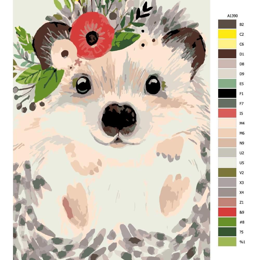 Návod pro malování podle čísel Ježek s květinou