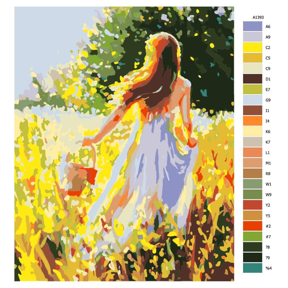 Návod pro malování podle čísel Dívka na sběru