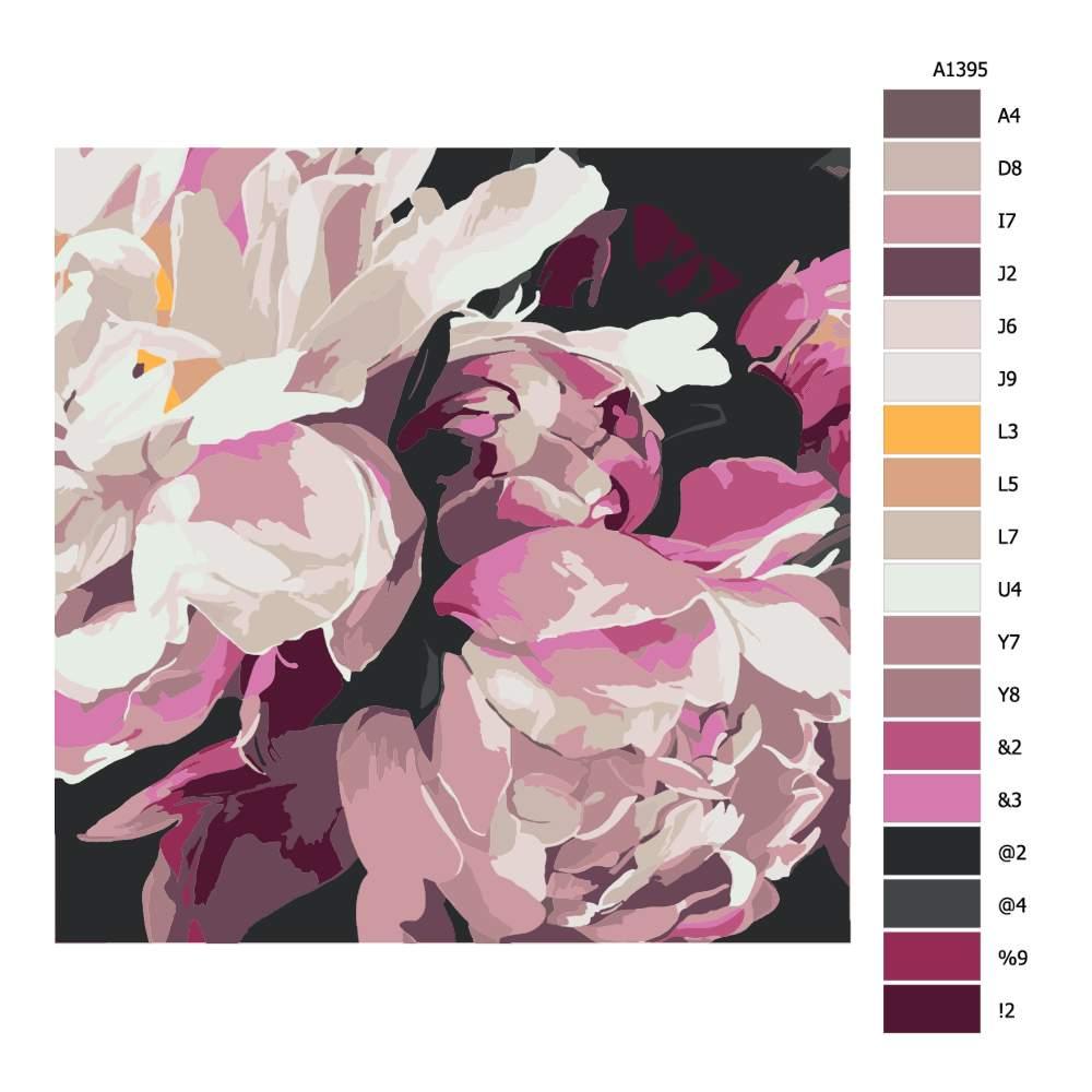 Návod pro malování podle čísel Květ pivoňky