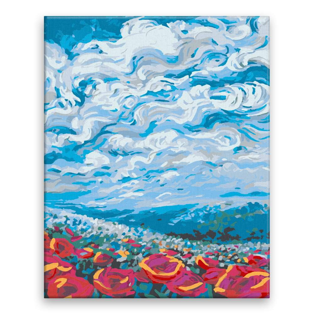 Malování podle čísel Krajina plná květin