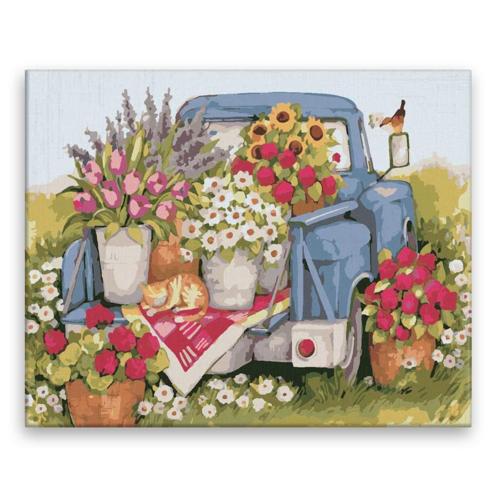 Malování podle čísel Auto plné květin
