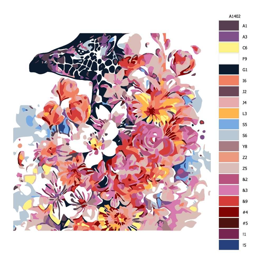 Návod pro malování podle čísel Žirafa v květinách